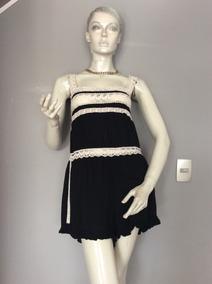 :::. Jumpsuit O Enterito Negro Con Encaje Blanco,talla M. ::