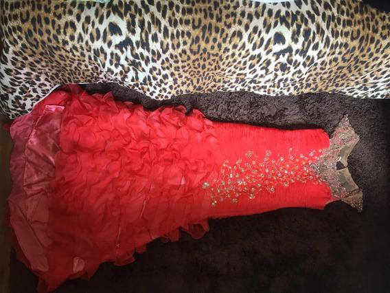 Vestido Longo Modelo Sereia Laranja Bordado Com Swarovski