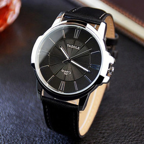 Relógios Masculinos Yazole Luxo Pulseira Couro Social Preto
