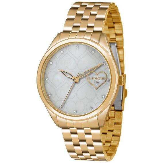 Relógio Lince Feminino Dourado Perolado Lrg4345l-b1kx