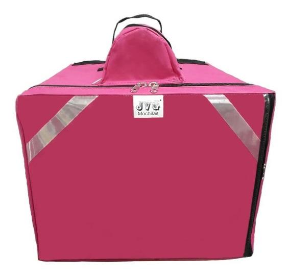 Jvg Mochilas® Bag Entrega Pizza Lanche Caixa Isopor Rosa