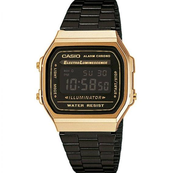 Relógio Casio Unissex Vintage A168wegb-1bdf - Dourado/preto