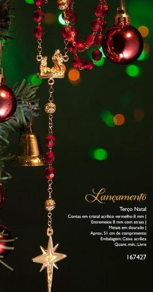 Terço Natal Cristal Acrílico Vermelho 8 Mm