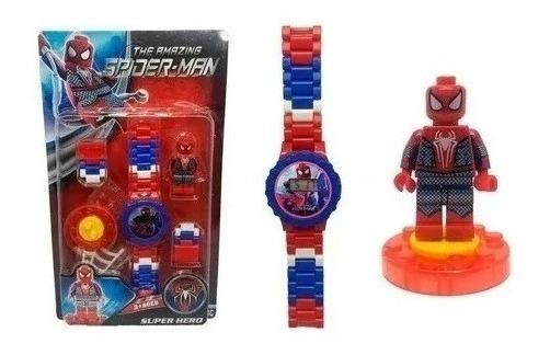 Relógio Digital Homem Aranha + Mini Boneco Lego