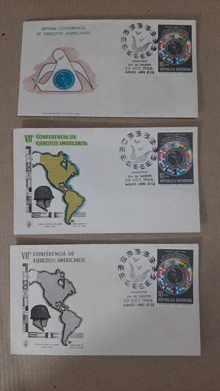 3 Sobres Primer Día - 1966 - 7ma Conferencia Ejercitos