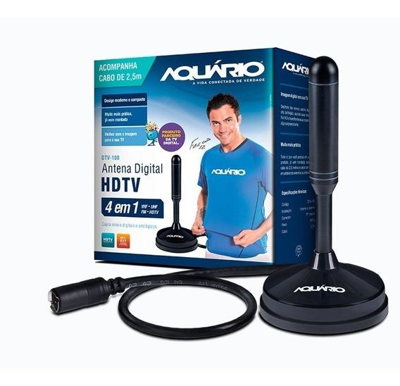Antena Digital Dtv100 4 Em 1 Hdtv Vhf Uhf Fm Dtv-100 Aquário Promoção