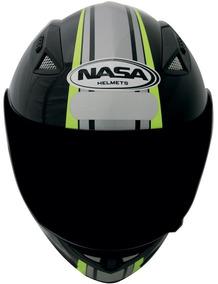 Capacete Nasa Sh-881 Force One Preto/prata/verd Tam 58