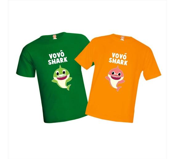 Kit Com 4 Camisetas Vovô E Vovó Baby Shark