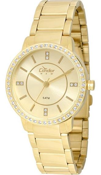 Relógio Condor Feminino Dourado Com Brilho Copc21ae/4x