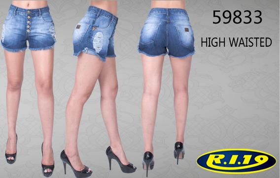 Shorts Feminino High Ri19 Rasg Com Botões 59833