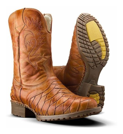 Bota Texana Masculina Cano Longo Texana Rodeio Couro