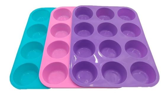 Molde Para 12 Muffins Cupcakes De Silicona Apto Horno