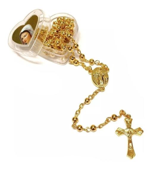 Terço Sagrado Coração Maria Kit 7 Unidades Dourado E Pratea