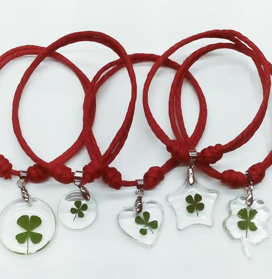 Treboles Originales 4 Hojas, 4 Pulseras Algodon Rojo