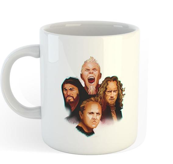 Caneca De Porcelana Metallica