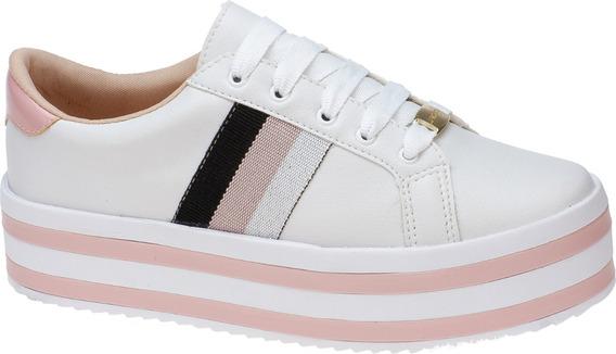 Tenis Feminino Flatform Sola Alta Jogging Retro Branco Rosa
