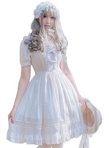 Vestido De Lolita Dulce Y Sonriente De Angel Girls Blanco Pr