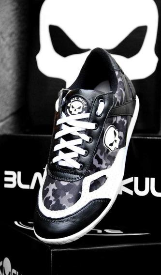 Tênis Bota Black Skull Em Couro Bs2030