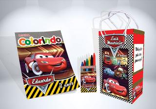 50 Kit De Colorir Dos Carros Revista Sacola Giz Lembrança