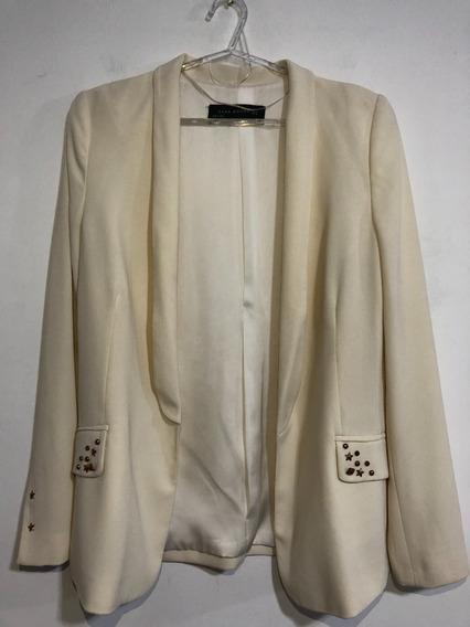 Saco Blazer De Crepe Marca Zara Talle S