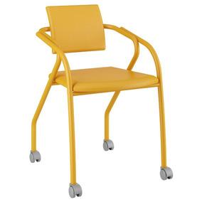 Cadeira Para Escritório 1713 Carraro Rodízios-amarelo Ouro