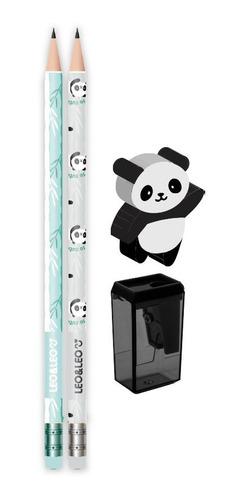 Kit Lápis Hb Panda Apontador + Borracha