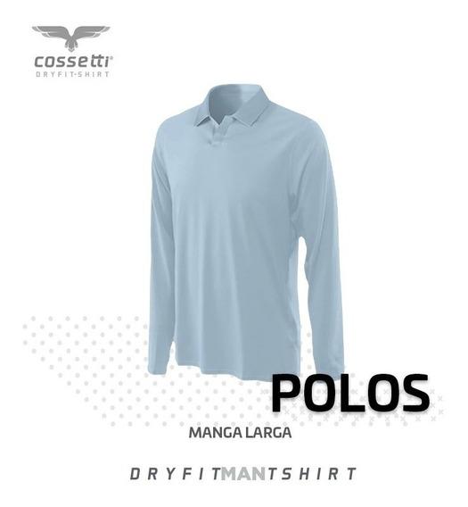 Playera Polo Cossetti Manga Larga Dry Fit Talla Xl, 2xl, 3xl