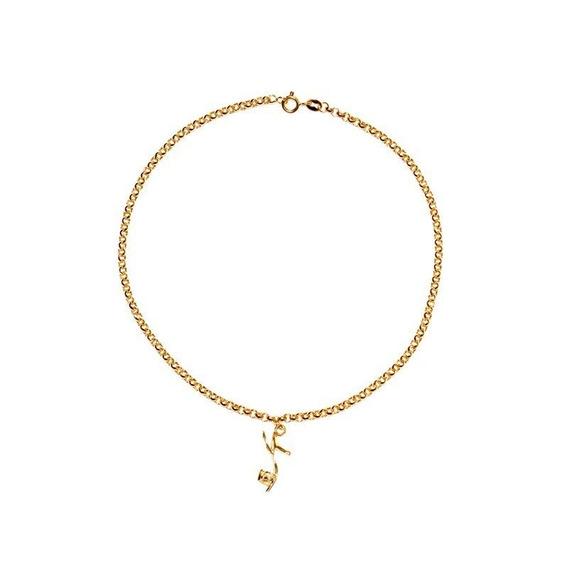 Tornozeleira Ouro 18k Com Pingente De Sapato - Cod 12779