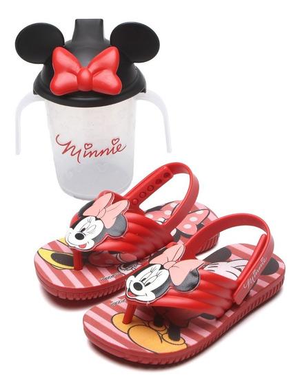 Sandália Infantil Disney Grendene Minnie Meninas + Copinho