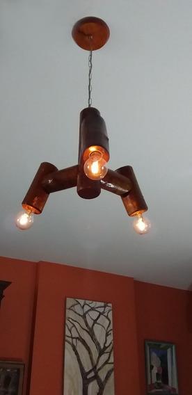 Luminária Lustre Invertida De Madeira Rústica
