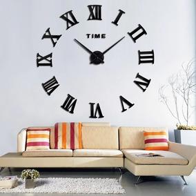 Relógio De Parede Cor Preta Grande Decorativo 3d Romano