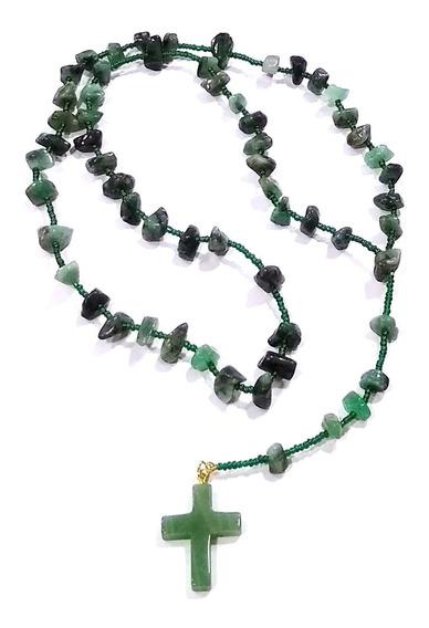 Terço Esmeralda Pedra Preciosa Brasileira Natural 50cm Lindo