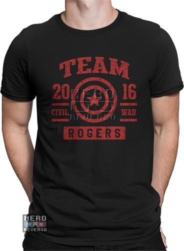 Camisa, Camiseta Capitão America Rogers Civil War