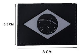 Patch Emborrachado Bandeira Do Brasil Preto Cinza Cm Fixação