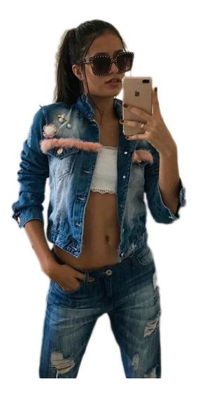 Jaqueta Curta Feminina Jeans Destroyde Rasgada Inverno