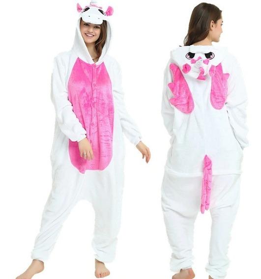 Pijama Mameluco Unicornio Disfraz Blanco Azul Rosa