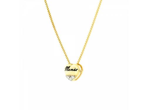 Gargantilha De Ouro 18k Pingente Coração Mamãe
