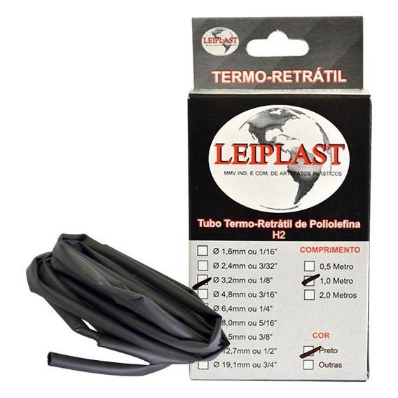 Espaguete Termo Retrátil 3,2mm 1 Metro Preto - Leiplast