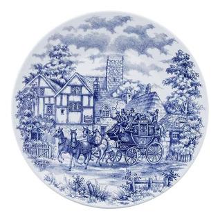 Set X12 Platos Playos Cena Inglesa Tradicional Antiguo Azul