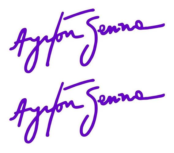 2 Adesivos Assinatura Ayrton Senna De Alta Qualidade