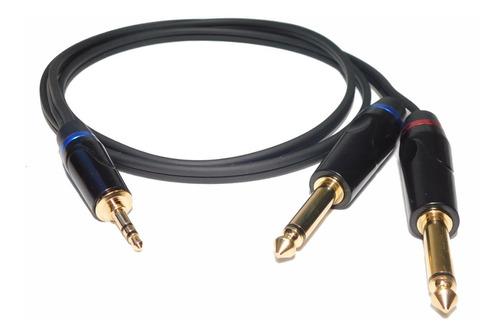 Cable Audio Pro Mini Plug 3, 5 Stereo A Dos 6,5 Mono X 2 Mts
