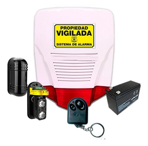 Imagen 1 de 3 de Kit Alarma Domiciliaria Perimetral Cableada Barrera Sirena