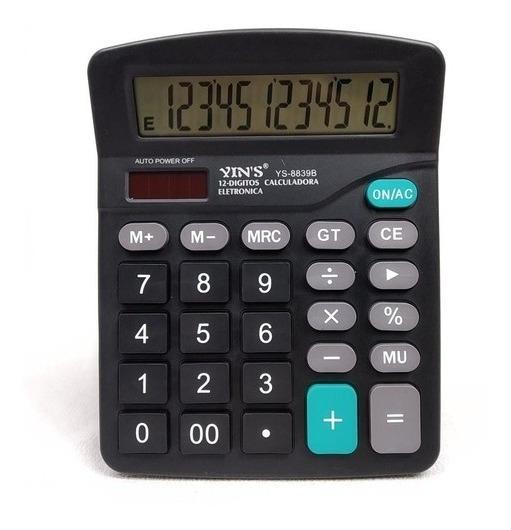 Calculadora De Mesa Eletrônica 12 Dígitos Digital Yins