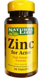 Natural Life Zinc For Acne X 30 Comprimidos