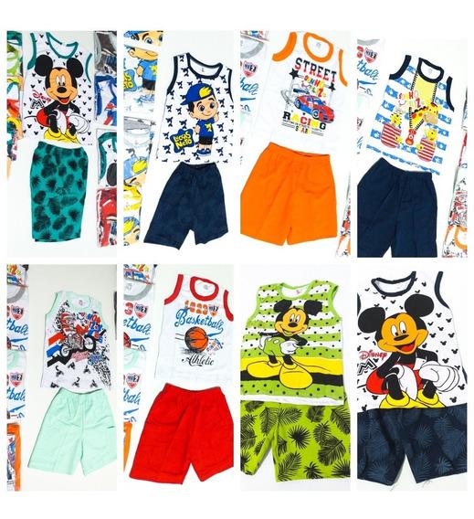 Kit 10 Conjuntos Roupa 2 Pcs Camisa E Short Menino 123456