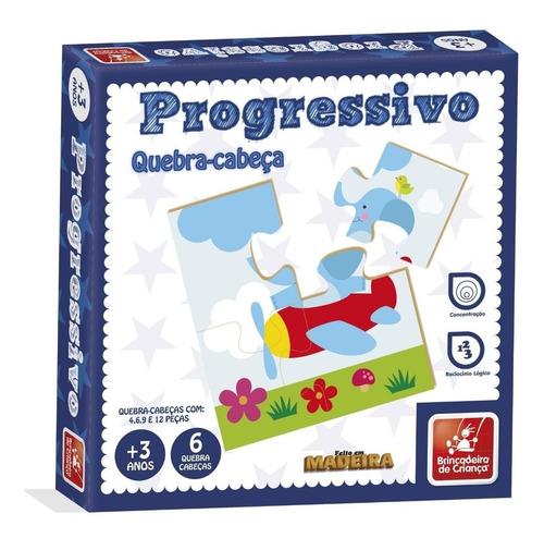 Quebra Cabeça Progressivo Madeira Brinquedo Educativo 41 Pçs
