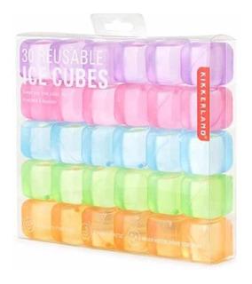 Kikkerland Square Reusable Ice Cubes, Hielos Reusables 30 Pz