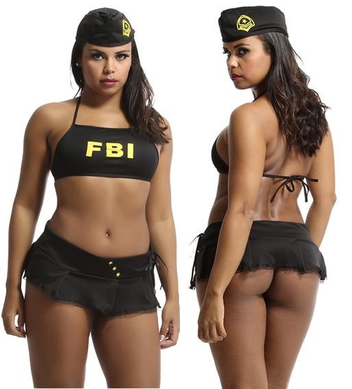 Fantasia Sensual Fbi Lingeries Sexys Moda Intima Atacado