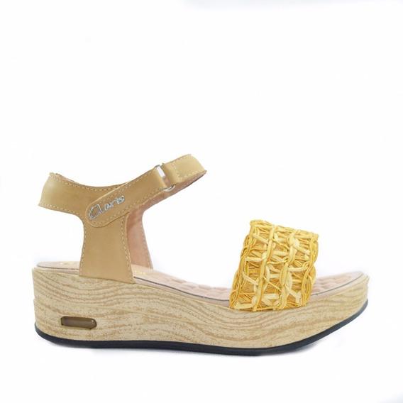 Sandalia Cuero Mujer Hebilla Art Napoles. Marca Claris Shoes