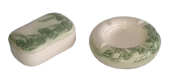Antigo Conjunto Caixa Porta Jóias E Cinzeiro Porcelana